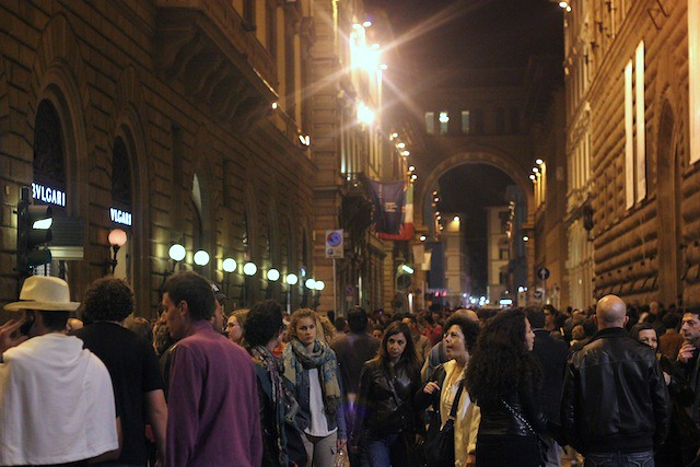 Crowd outside Palazzo Strozzi