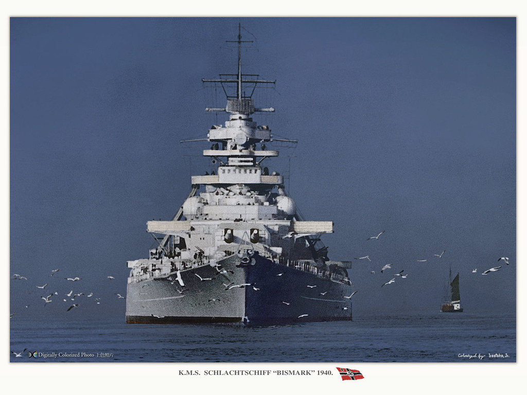Bismarck prow, 1941, photo colorized by Hirootoo jr.