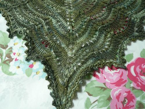 Green shawlette, close