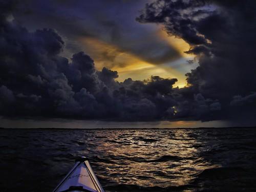 sunset storm day keylargoflkayakfrommykayakfloridabayevergladesnationalparksea skycloudstwilightsunsetpublic2012