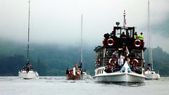 Being part of the Olympic Torch Flotilla acrooss Lake Windermere, Cumbria.
