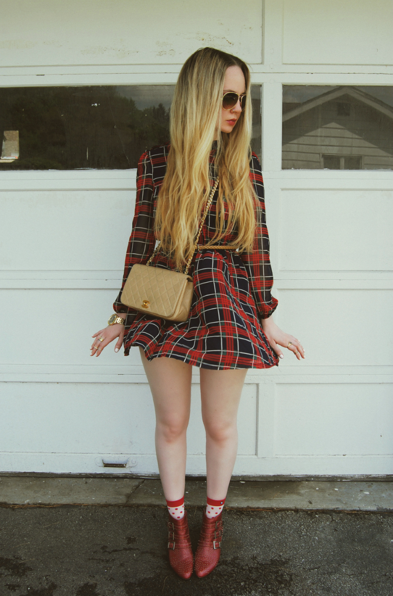 PlaidDress_BeigeChanelBag_RedJeffreyCampbellStarburstBooties_StanceSocks