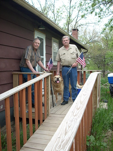 Leon Kauzlarich (left) and his son, David, are both U.S. Army veterans. With critical home repairs in place, including a handicap-accessible ramp, Leon plans to get out this Memorial Day to recognize the contributions of other military veterans.