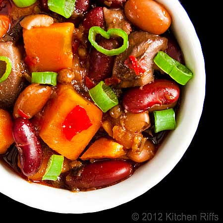 Red-Braised Beans and Sweet Potatoes in White Ramekin, Overhead View
