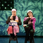 Richard Montoya (l.) and Ric Salinas play Northern Californian lesbians who find themselves increasingly disillusioned by -- and crowded out of -- liberal politics, in the Huntington Theatre Company's production of