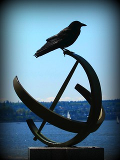 crow on sundial waiting....
