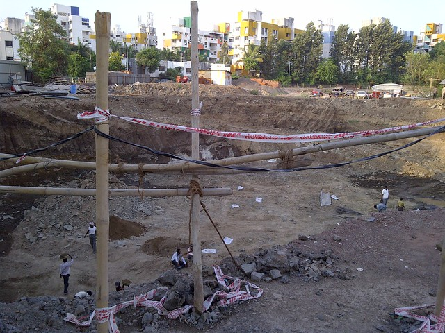 Excavation for basement parking at Audumbar Warje Pune - Visit Suyog Aura Warje Pune 411052