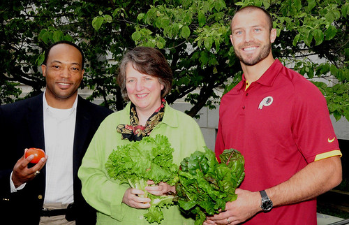 AMS Transportation and Marketing Program Deputy Administrator Arthur Neal; Agriculture Deputy Secretary Kathleen Merrigan; Washington Redskins player Reed Doughty.  All three were on hand to officially open the USDA Farmers Market on June 1st.