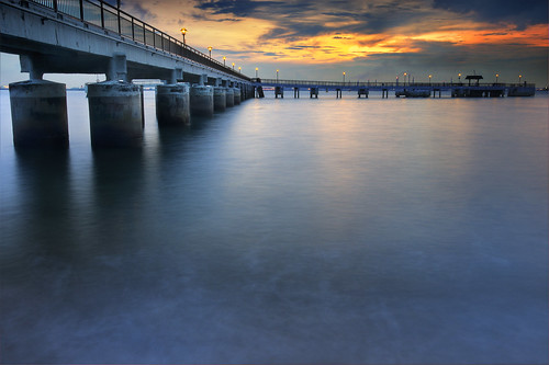 park bridge sunset red sky orange sun beach water ahead lights labrador jetty smooth hdr forward silky lpsmooth