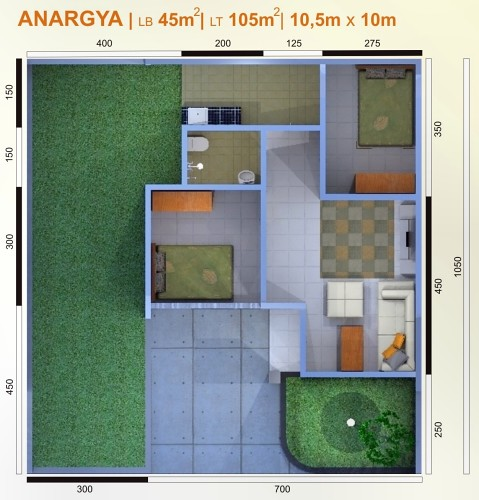 denah rumah ideal type anargya 45 105 flickr photo