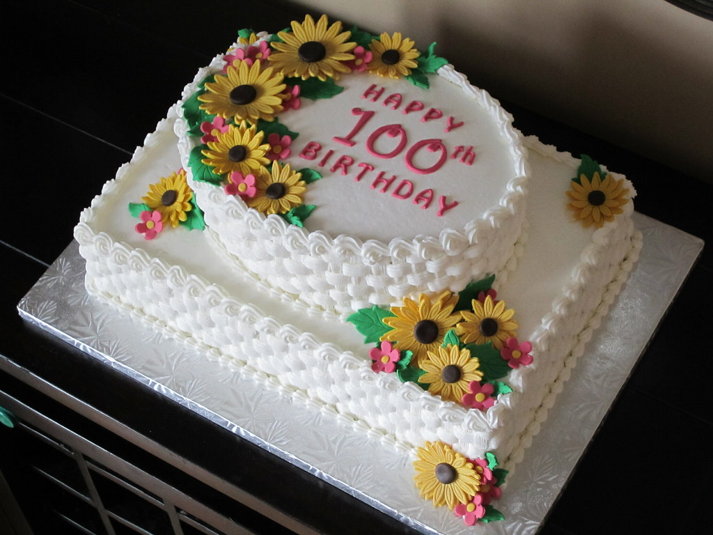 Sunflower 100th Birthday Cake