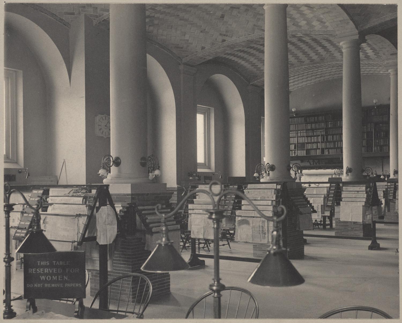 newspaper, library, boston, women, sepia, reading