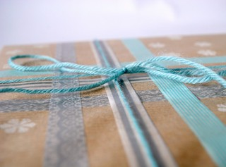 Decorative masking taped package