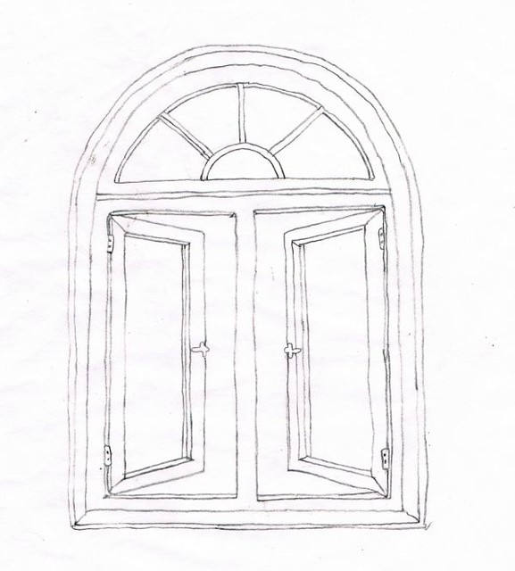 Palladian Window Drawing Sketch Coloring Page