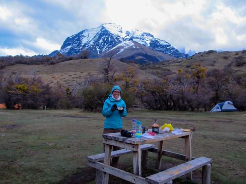 Torres del Paine: porridge à la banane en guise de petit-déjeuner.