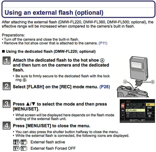 Using external flash units, as referenced on page 199 of the Panasonic LX5 Manual (Advanced Operating Instructions)