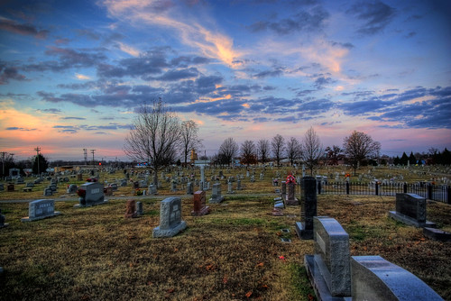 county city sunset cemetery tn tennessee hdr putnam cookeville