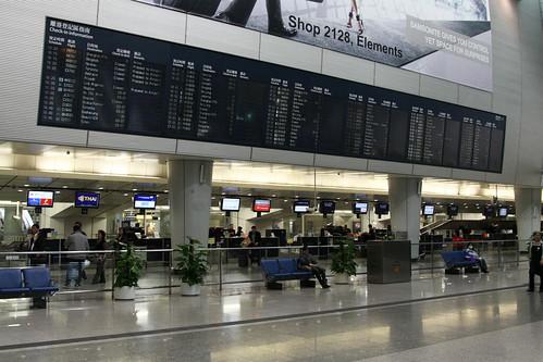 Flight information display at Kowloon station