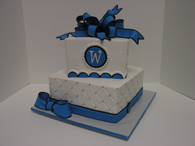Blue and Black Wedding 8 and 6 square wedding cake