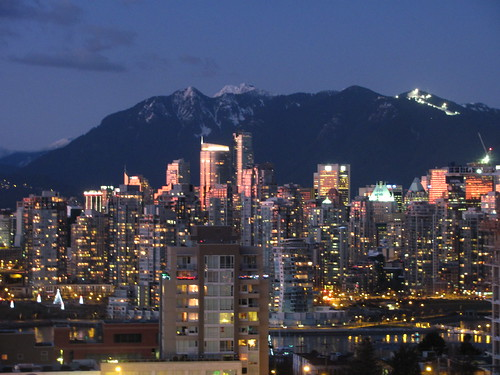 Downtown Vancouver Skyline & Grouse Mountain Lights at Night