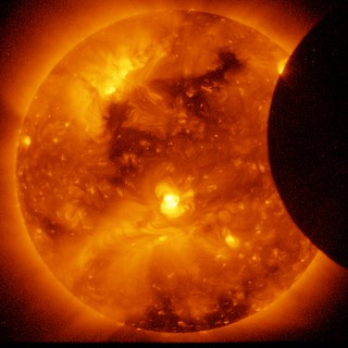 Solar Eclipse, Beginning (NASA, Hinode, 01/07/11)