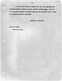 Transcript of Message to Congress Requesting Declaration of War Against Japan, 12/08/1941 (page 3 of 3)