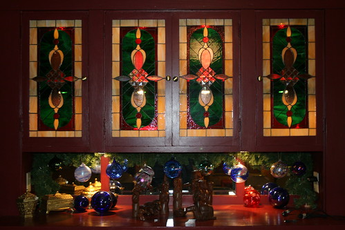 stained glass windows in the buffet