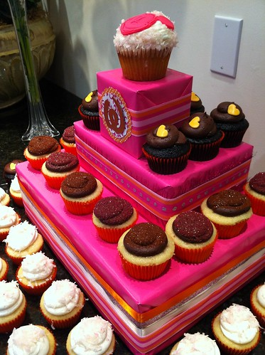 Pink & Orange Cupcake tower for Disney wedding