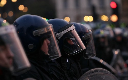 Police in riot gear - Parliament Square and Westminster Bridge London