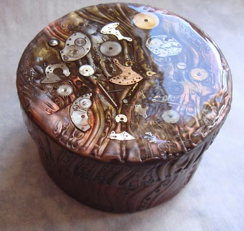 Handmade Polymer Clay Steampunk Box