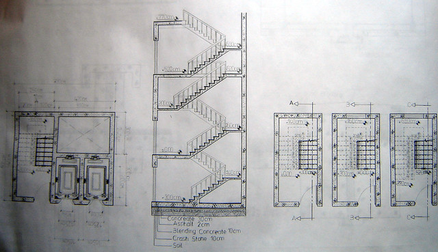 Section plan of elevator and stairs flickr photo sharing for Elevator plan drawing