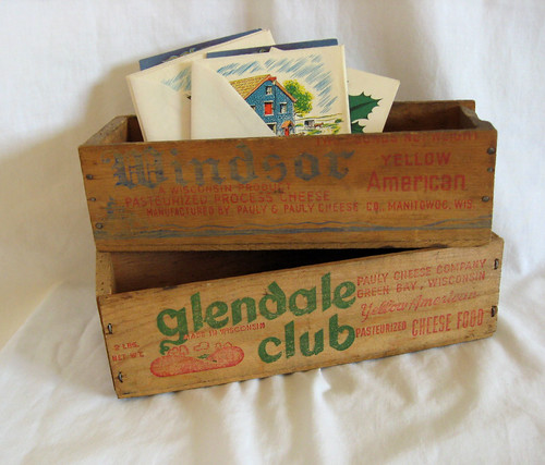Vintage Wood Cheese Boxes