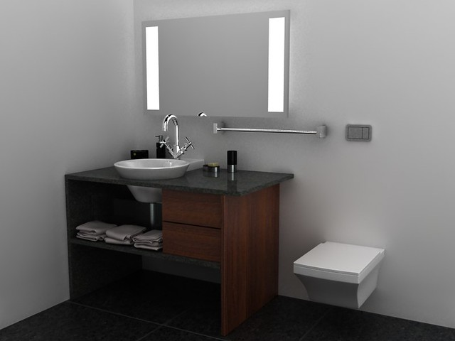 Dise o de mueble para lavabo empotrado bathroom design - Mueble de lavabo ...