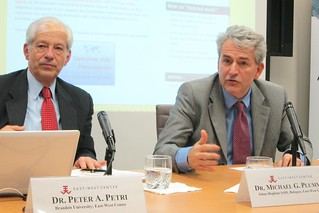 Dr. Peter Petri (left) and Dr. Michael Plummer (right) co-authored a publication in the East West Center Policy Studies series entitled ASEAN Centrality and the ASEAN-US Economic Relationship.