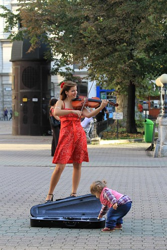 A Hungarian Street buskers youngest customer