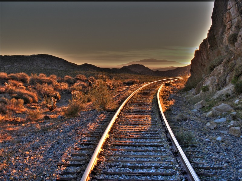 HDR of the sunrise on the tracks at the end of Dos Cabezas Road