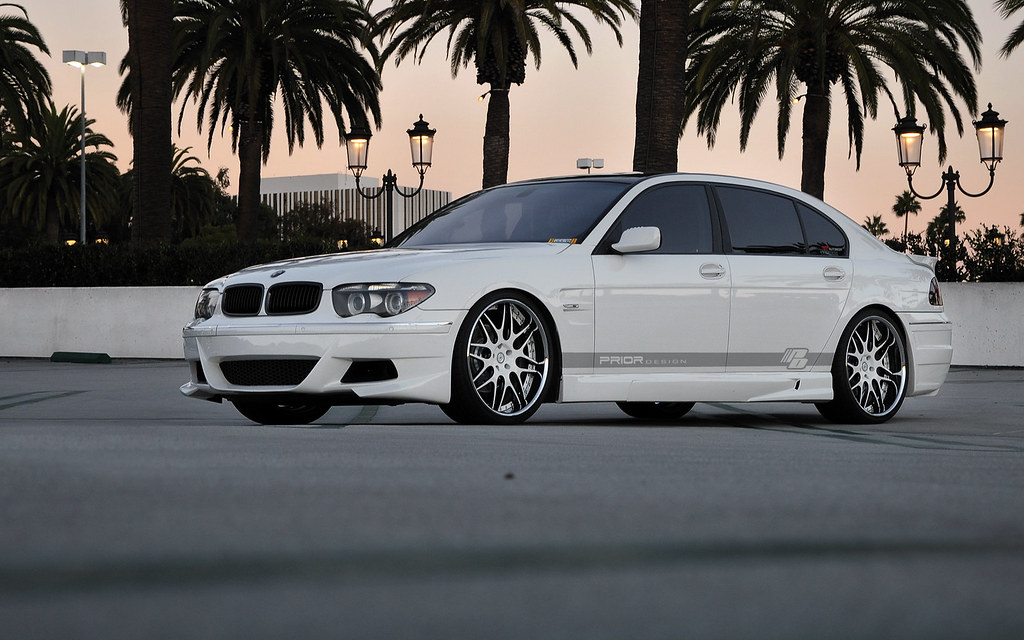 BMW 7 Series E65 E66 White Prior Design 745 Full Body Kit And Wheels