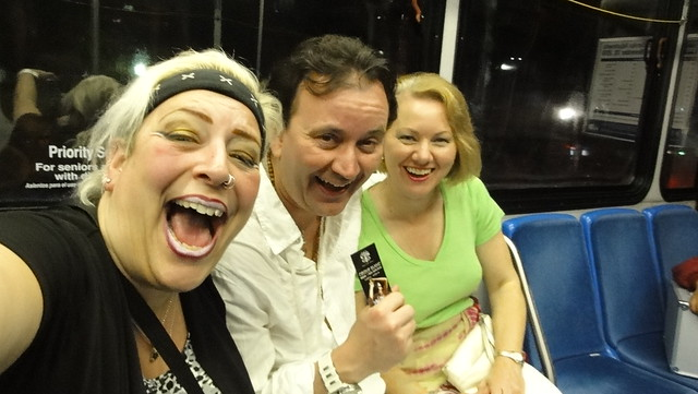 R. Sky Palkowitz The Delusional Diva, Ryan Janek Wolowski, Terry Wolowski on Miami Washington Avenue bus headed to Nikki Beach
