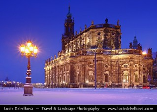 Germany - Dresden - Dusk at Hofkirche - Church of the Court