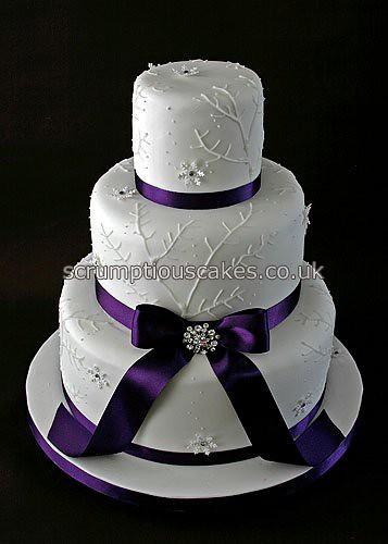 Wedding Cake (686) - Piping, Snowflakes & Purple Ribbon