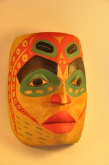 carving, orange, face, yellow, head, mask,
