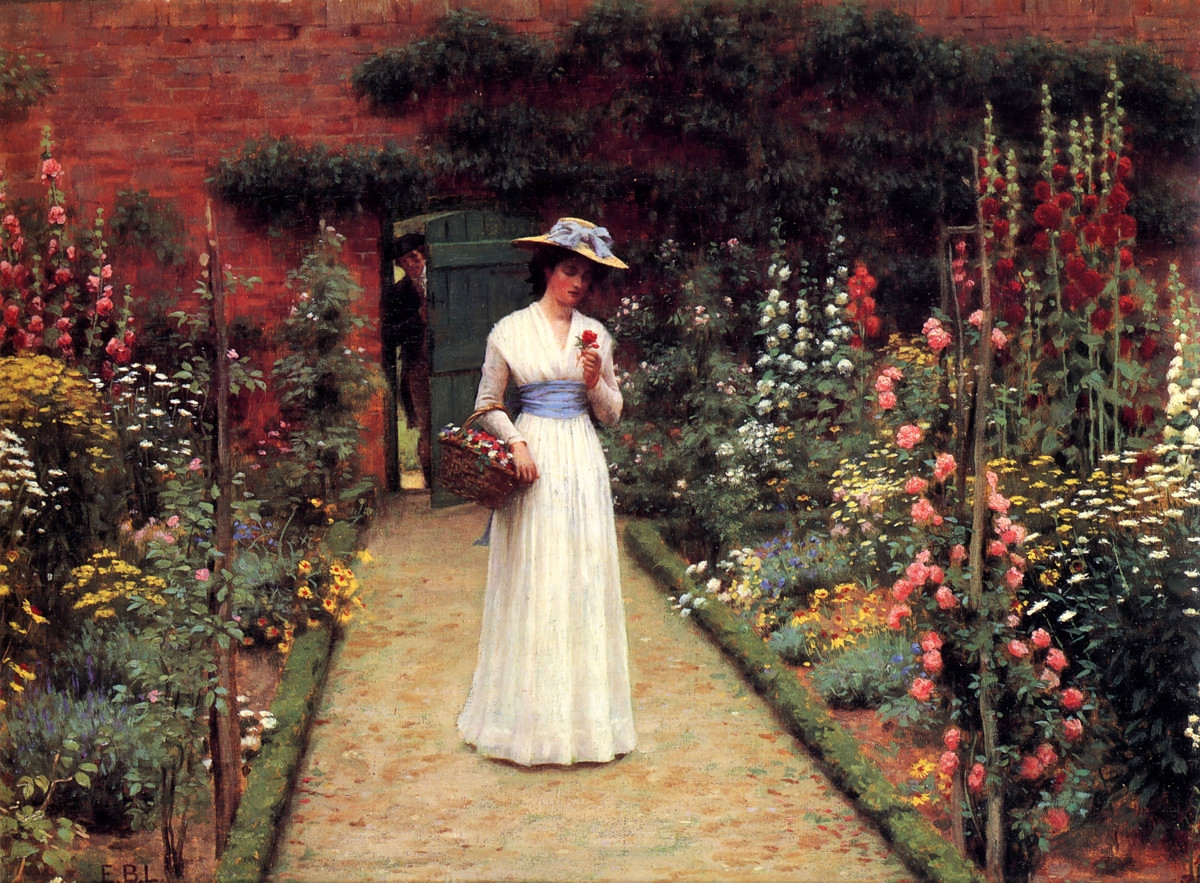 Lady in a Garden by Edmund Blair Leighton