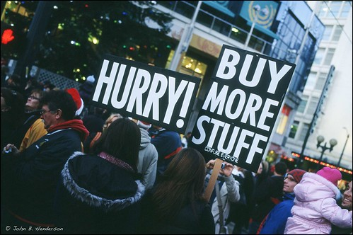 Activists in Seattle mocking Black Friday sales.