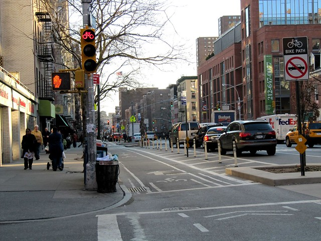 Mon, 03/08/2010 - 16:50 - New York City 9th Ave bike lane - visit www.theurbancountry.com