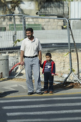 The Humanities of Jerusalem streets-The  father and son on the streets