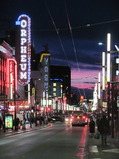 Sunset Sky from Granville Street in Vancouver