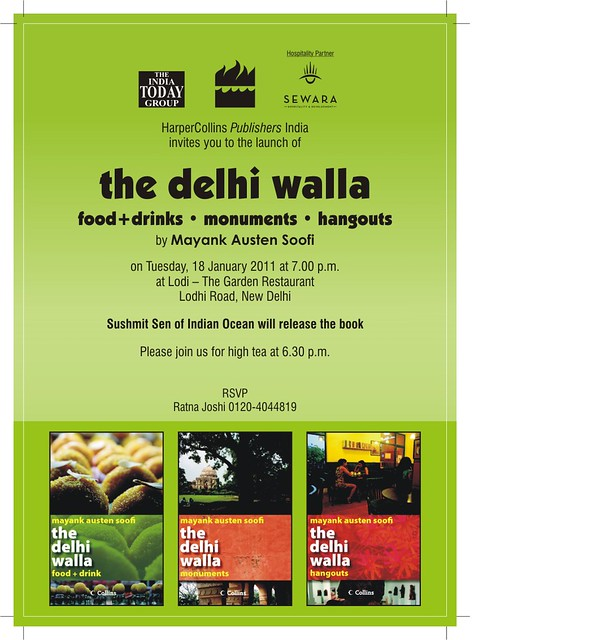 6.30 pm, 18 January – The Delhi Walla Books Launch, Lodhi Restaurant