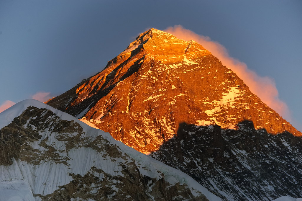 Everest close up in sunset