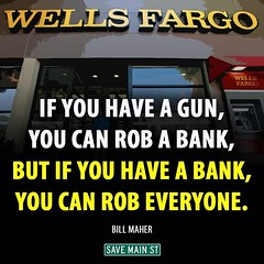 @WellsFargo CEO give back America's $! Your stock went up, nothing more than a Bank Robber!