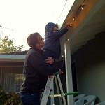 Connor helped hang the Christmas lights